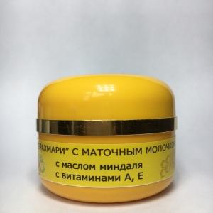 Крем с маслом миндаля, маточным молочком, витаминами А, Е.